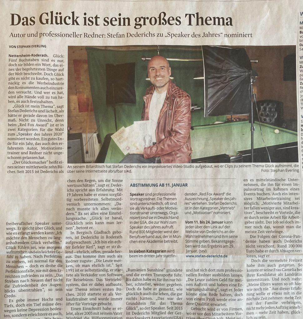 Kölner Stadtanzeiger und Kölner Rundschau Stefan Dederichs Speacker des Jahres 2021